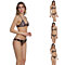 Lady Sexy Leopard Print Backless Spaghetti Strap Push-Up Bra Swimwear Bikini Set