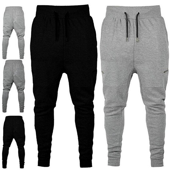 2e5ee3d6b3f2 Trending product! This item has been added to cart 11 times in the last 24  hours. Men Casual Zippered Sweatpants Jogger Sport Trousers Drawstring Hip- hop ...