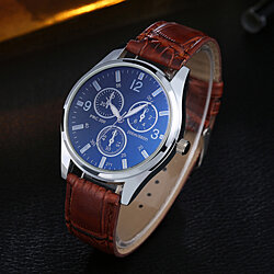 Men Fashion Business Style Faux Leather Band Round Dial Quartz Analog Wrist Watch