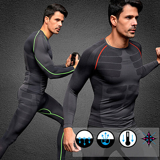 Men/'s Compression Skin Fit Shirt Long Sleeves Gym Sports Running Base Layer Top