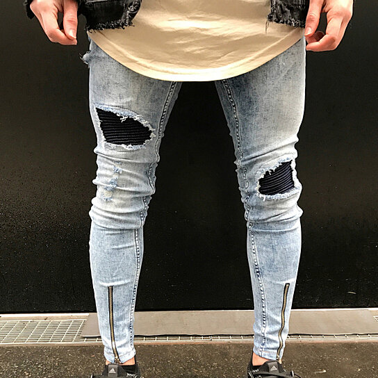 f7d4c8f7d77 Trending product! This item has been added to cart 46 times in the last 24  hours. Men s Fashion Ripped Skinny Jeans Frayed Slim Fit ...
