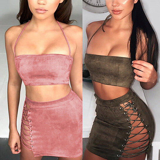 a1ef64ecc92 Trending product! This item has been added to cart 58 times in the last 24  hours. Sexy Women Halter Faux Suede Two-Piece Suit Tube Crop Top + Short  Skirt ...