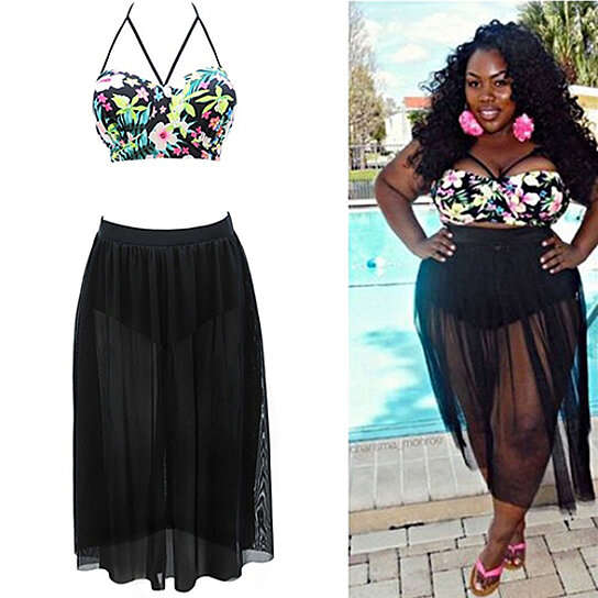 12961168783 Trending product! This item has been added to cart 92 times in the last 24  hours. Sexy Women Plus Size Floral Halter Bikini Gauze Long Skirt Bathing  Suit ...