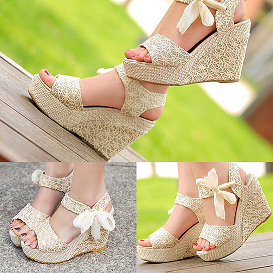 9daa5e70fdec0 Trending product! This item has been added to cart 38 times in the last 24  hours. Summer Womens Sweet Bohemian High Heel Wedge Sandals Bowknot ...