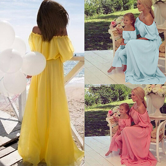 de240b3617 Trending product! This item has been added to cart 82 times in the last 24  hours. Women Boat Neck Strapless Maxi Dress Mom Kid Family Matching Parent- child ...