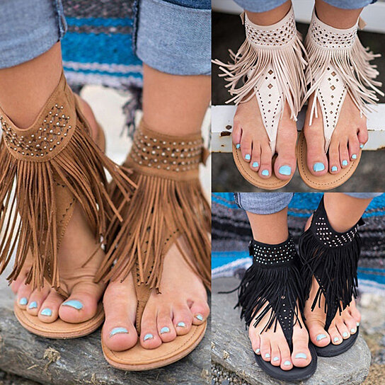 46c7e8989c53d Buy Women Bohemian Tassel Fringe Casual Summer Beach Faux Leather Thong Sandals  Flats by Bluelans on OpenSky