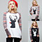 Women Casual Autumn Antlers Pattern Long Raglan Sleeve Top Pullover Sweatshirt