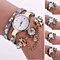 Women Multilayer Floral Print Strap Dazzle Rhinestone Chain Bracelet Wristwatch