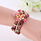Women's Bohemian Multilayer Faux Leather Beads Flower Charm Bracelet Bangle