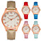 Women's Casual Quartz Round Waved Pattern Dial Faux Leather Strap Wrist Watch