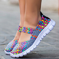 Women's Casual Running Breathable Knitted Mesh Fabric Dance Sneaker Shoes