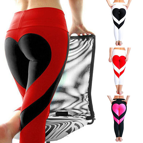 cb5d325240 Trending product! This item has been added to cart 47 times in the last 24  hours. Women's Tights Love Heart Booty Yoga Leggings Color Block Workout  Pants ...