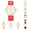 Women's Unique Hollow Hand Rhinestone Inlaid Dial Faux Leather Band Wrist Watch