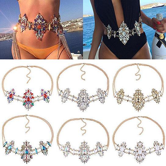642b7912bb Buy Women Sexy Rhinestone Waist Belly Body Chain Night Club Bikini Beauty  Jewelry by Bluelans on OpenSky