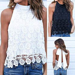 Women's Summer Sexy Sleeveless Backless Bowknot  Lace Tank Top