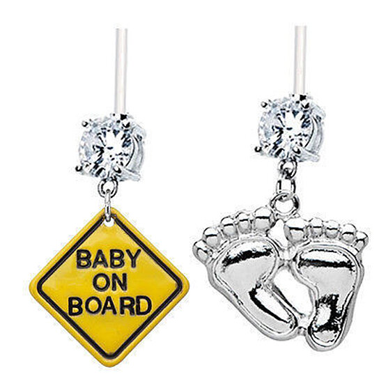 buy 2 pack baby on board foot prints clear gems