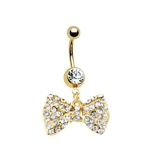 buy gold bow dangle belly ring with stones belly button