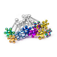 10 Tongue Piercing Barbells - Anodized Titanium Flowers - 14ga 316L Surgical Steel