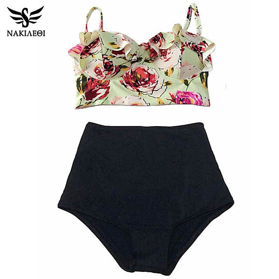 65f6f16fc5 Buy NAKIAEOI 2017 High Waist Bikinis Women Swimsuit Plus Size Swimwear  Bathing Suits Retro Floral Push Up Bikini Set Beach Wear XL by Bohemian  Gift Store on ...
