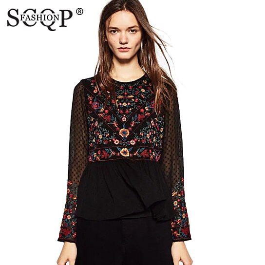 Buy Scqp Fashion Embroidered Mesh Women Blouses Crochet Vintage