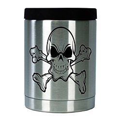 CUSTOMIZED COLD JACK STAINLESS STEEL COOZIE 12 OZ. (SKULL&CROSSBONES)