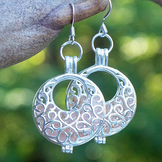 Buy Recycled Antique Pink Depression Glass Silver Filigree