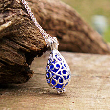 Recycled Vintage Noxzema Jar Filigree Teardrop Necklace