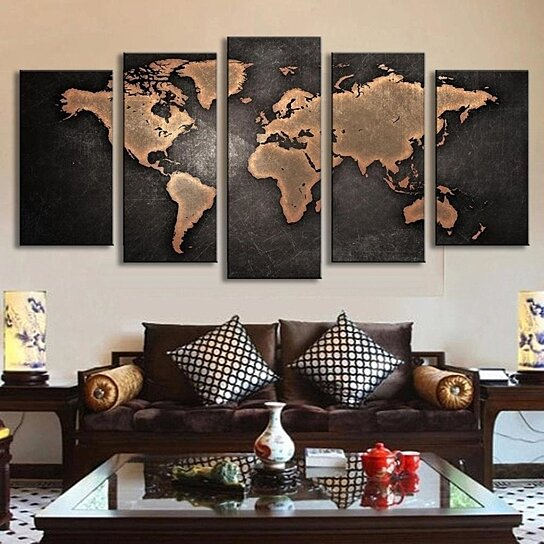 Buy 5 PCS Large Size Vintage World Map Wall Art Picture Modern Home ...