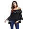 Fall Beauty Shoulder Strap Collar Flounced Sleeves Loose T-Shirt