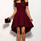 One Word Short-sleeved Splicing Dress