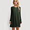 Women's Loose Casual O-neck Long Sleeve Solid Mini Dress