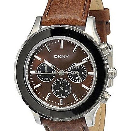 DKNY Chronograph Brown Dial Brown Leather Men's Watch ...