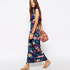 ladies floral printed slim maxi dress