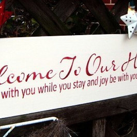 Buy welcome to our home sign front door sign welcome for New home sign