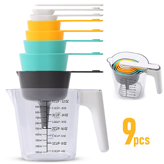 9 Piece Measuring Cups and Spoons Set, Stackable Kitchen Measurement Tools,  Dry, Wet and Liquid Use, Baking and Cooking Support