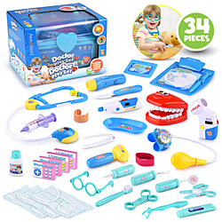 Educational Doctor Medical Pretend Play Toy Set In Storage Box 24 Pcs –  Battery Operated With Lights & Sounds – Hand To Eye Coordination
