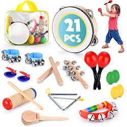 Educational & Musical Percussion for Preschool, Toddlers & Kids Instruments Wooden Toy Set – Tambourine, Maracas, Castanets & Much More