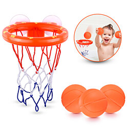 Fun Basketball Hoop & Balls Playset For Little Boys & Girls | Bathtub Shooting Game For Kids & Toddlers - 3 Balls Included