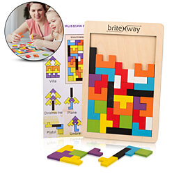 Fun & Educational Wooden Tetris Puzzle Toy For Toddlers & Preschoolers – Safe & Stimulating Wood Block Puzzle Game Set – Perfect Gift Idea