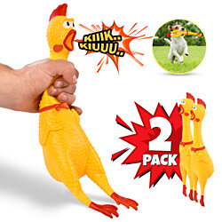 "2 Pack - Hilarious 15"" Rubber Screaming Chicken Toy For Kids & Pets – Squeaky Chicken Chew Toy - Squeezing & Squawking - Novelty Gift Idea"