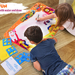 Large Water Drawing Mat For Kids [34.5'' x 22.5''] Magic Aqua Doodling Board Magic Pens & Brush|Educational Painting, Doodle & Writing Mat