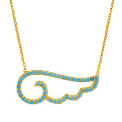18K Gold Over Sterling Silver Wave Shaped Turquoise Necklace