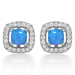 18K White Gold Plated Princess Cut Opal Stud Earrings