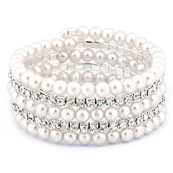 Multi-Row Pearl and Crystal Stretch Bracelet