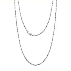Italian Made Sterling Silver Diamond Cut Rope Chain Necklace