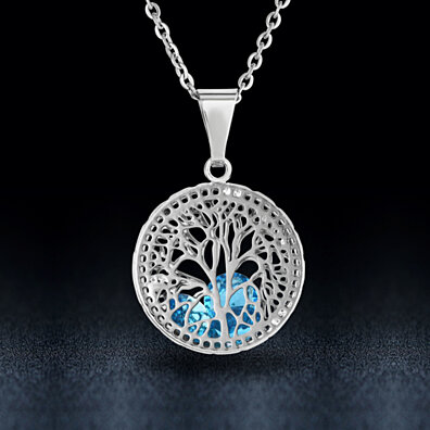 Tree Of Life With Dancing Crystals Necklace- Assorted Colors