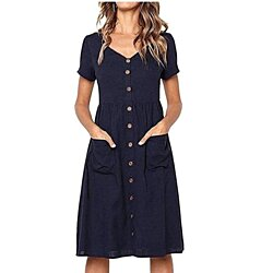 Easy Linen Mini Dress with Pockets, X-XL