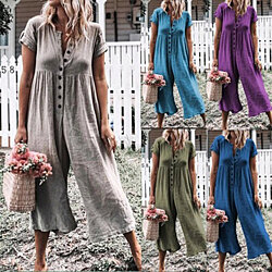 Women's Solid Color Short Sleeve Wide Long Pants Jumpsuit Rompers