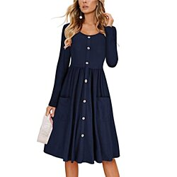 Button Down A-Line Dress with Pockets