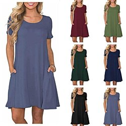 Women's  Short Sleeve Casual T Shirt Pockets Dresses
